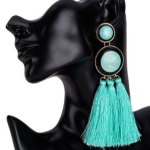 BE35 | Turquoise Statement Dangle Tassel Earrings